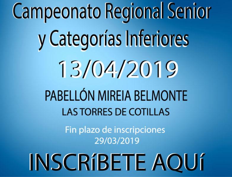 Campeonato Regional Sénior y Categorías infereiores FEBAMUR 2019