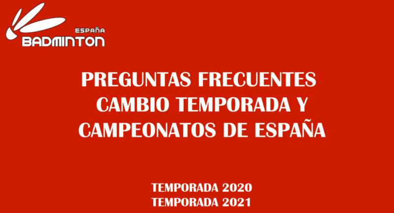 FAQ. Cambio de Temporada y Ctos. España